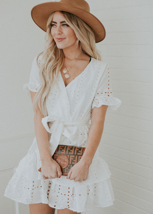 Don't Give Up On Me Eyelet Ruffle Dress White CLEARANCE