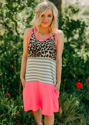 Hand In Hand Color Block Neon Pink Tank Dress