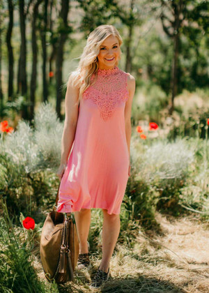 Get Some Sunshine Embroidered Lace Detail Tank Dress
