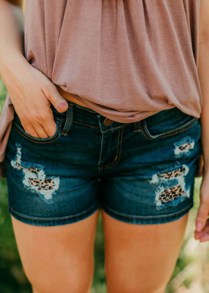 What I've Been Looking For Leopard Patched Shorts
