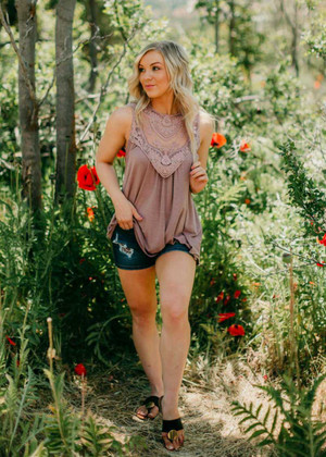 Always Happy Lace Detail Tank Mauve