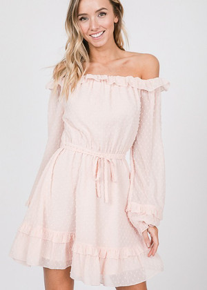 Sheer Textured Tie Dress Blush CLEARANCE