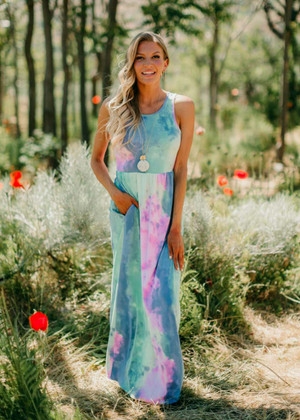 When I'm With My Baby Watercolor Maxi Dress