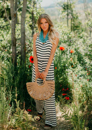 Perfect Spaghetti Strap Striped Romper Ivory/Black CLEARANCE