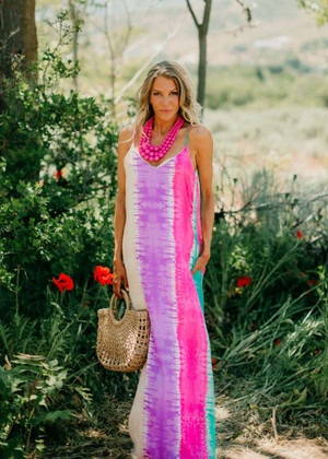 All The Bad Things Disappear Tie Dye Maxi Dress Mint/Pink