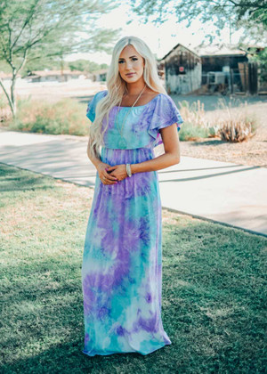 Under The Night Sky Tie Dye Maxi Dress Mint CLEARANCE