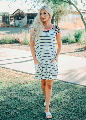 Soft and Comfy Leopard and Striped Neon Dress CLEARANCE