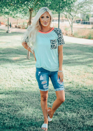 Mint Top With Leopard Sleeves and Neon Trim CLEARANCE