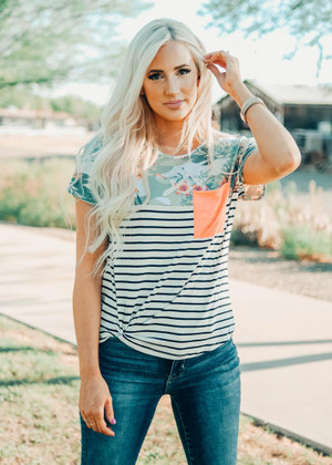 Spoken For Striped And Floral Top With Neon Pocket