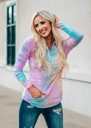 Sunset Tie Dye Light Weight Hoodie Sherbet