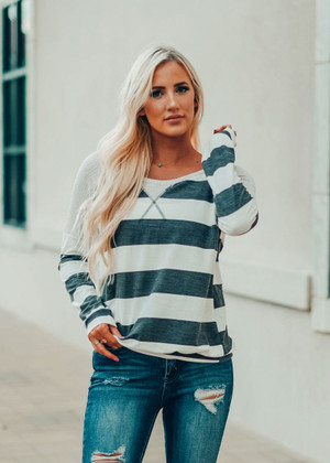 Waffle Contrast Striped Top Charcoal / Off White