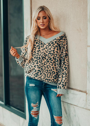 Feels Like Cashmere Leopard Trim Sweater Top