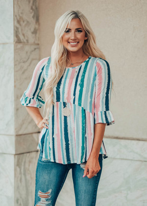 Perfect Peplum Style Watercolor Top CLEARANCE