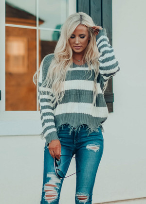 Autumn Ready Striped Distressed Sweater Slate Gray