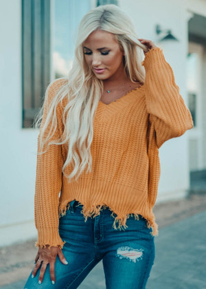 Keep Me Distressed Frayed Knit Sweater Mustard