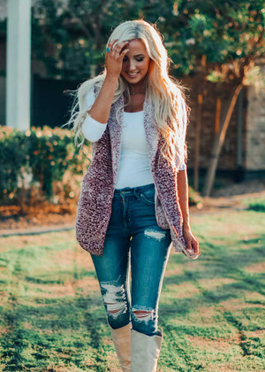 Faux Fur Hooded Sherpa Vest Burgundy