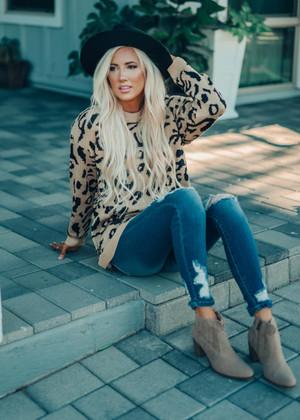 Pretty Khaki Leopard Oversized Sweater Tunic Top
