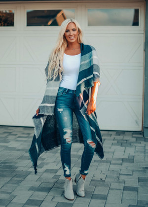 Plaid Long Ruffle Layered Vest Teal