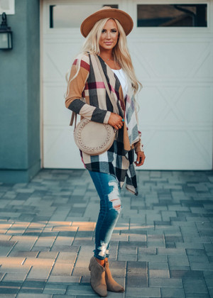 Beautiful Plaid Open Cardigan Taupe