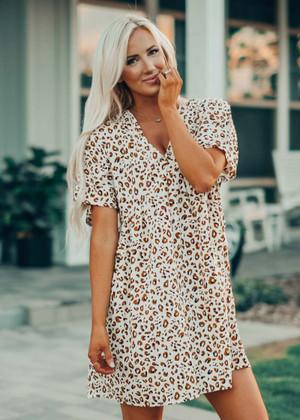 Leopard Babydoll Kimono Dress Ivory/Mustard