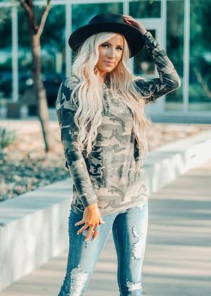 Camo Long Sleeve Dolman Sleeve Tunic Top