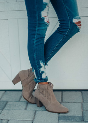 Racer Cutout Ankle Booties Taupe