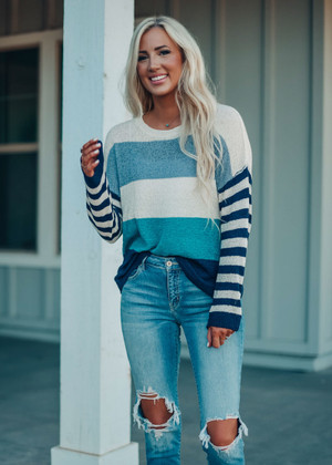 All About Fall Color Block Striped Sweater Mint