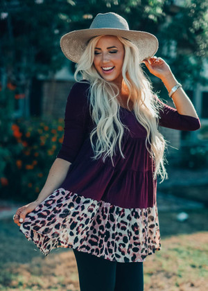 A Touch Of Leopard Ruffle Dress Burgundy