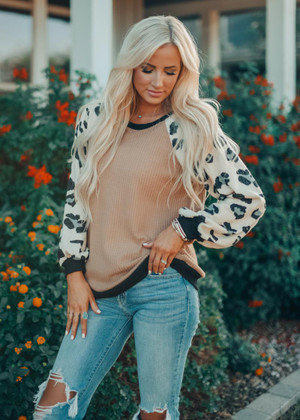 Warm and Cozy Waffle Top With Leopard Sleeves Taupe