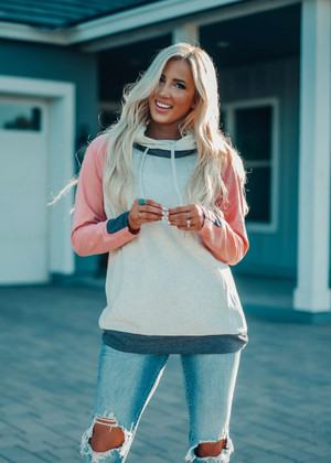 Fall Favorite Color Block Raglan Hoodie Top Gray