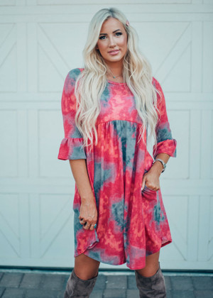 Tie Dye Belle Sleeve Soft Sheer Dress Fuchsia