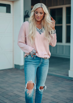 Thermal Waffle Oversized Sweater Leopard Trim Top Dusty Pink