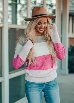 Nothin' To Say Color Block Sweater Pink