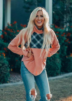 Rainy Days Fleece Plaid Sweater Top Blush
