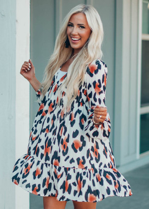 My Best Friend Flowy Animal Print Dress Ivory