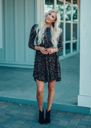 Keep It Real BabyDoll Leopard Dress Brown