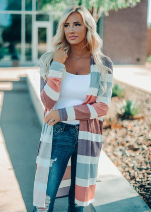 Beautiful Multi Color Stripe Textured Open Cardigan