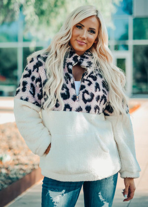 Faux Fur Sherpa Pull Over Leopard Sweatshirt Top Blush