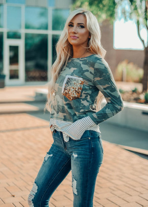 Camo and Stripe Sequins Pocket Top Ivory