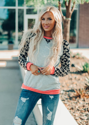 Stayin' Alive Leopard Sleeve Top Heather Gray
