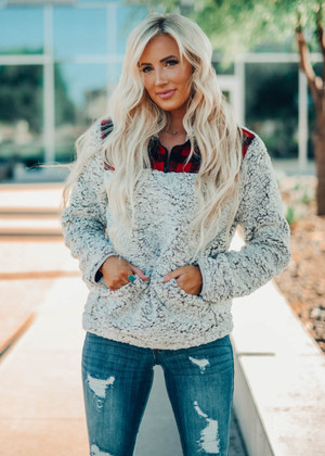 Snuggle By The Fire Fuzzy Buffalo Patch Pullover Sweatshirt CLEARANCE