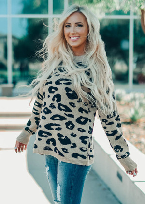 Not Just Your Ordinary Leopard Ribbed Sweater Top Mocha