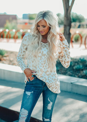 Better Than Anything Super Soft Leopard Top Taupe