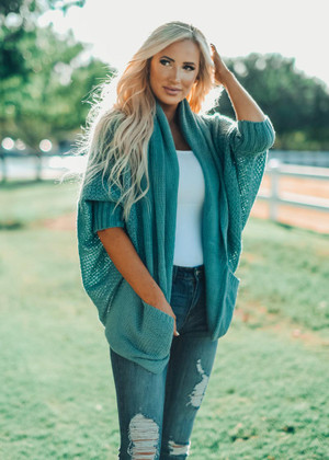 Laugh And Love Knit Dolman Cardigan Sage