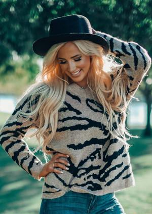 Always Be Right Here Zebra Print Sweater Mocha