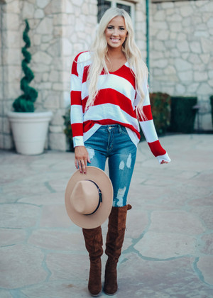 Come A Little Closer Loose Fit Striped Sweater Top Red