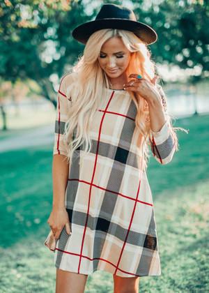 Plaid Print Pocket Dress Taupe