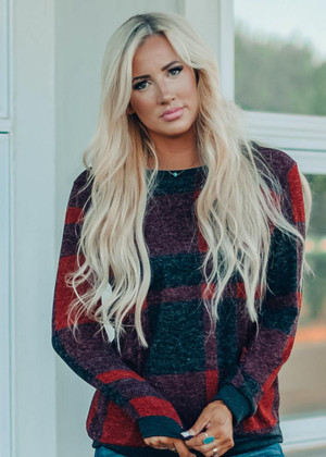 Plaid Hacci Pull Over Top Red/Black