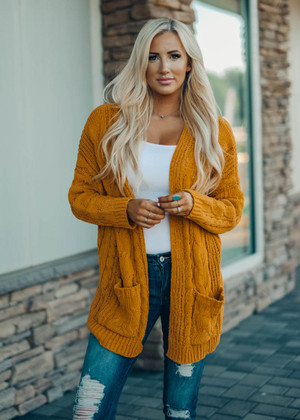Cable Knit Ribbed Open Cardigan Mustard