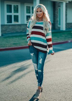 Multi Color Stripe Sweater Knit Top